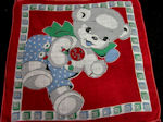 vintage child's hanky Teddy Bear and alphabet blocks
