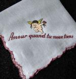 vintage valentine cherub amour lovers' hankie
