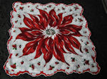 vintage Christmas hanky big poinsetta print