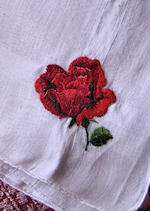 vintage embroidered red rose hanky