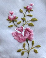 vintage embroidered pink roses hanky