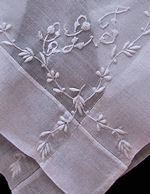 vintage french whitework monogrammed hanky