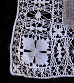 vintage antique wedding brides hanky handmade drawnthread lace