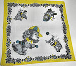 child's children's hanky dogs playing baseball