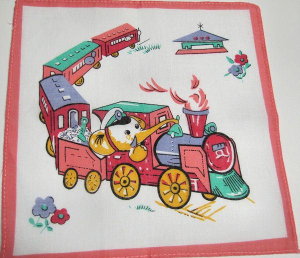 child's children's hanky animals on a train