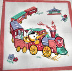 childs childrens hanky elephant on train