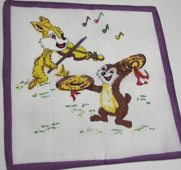 childs childrens hanky chipmunk and bunny