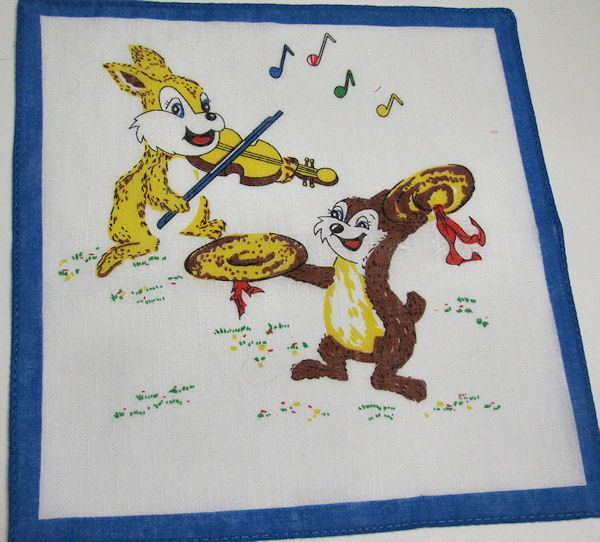 childs childrens hanky with bunny rabbit and chipmunk