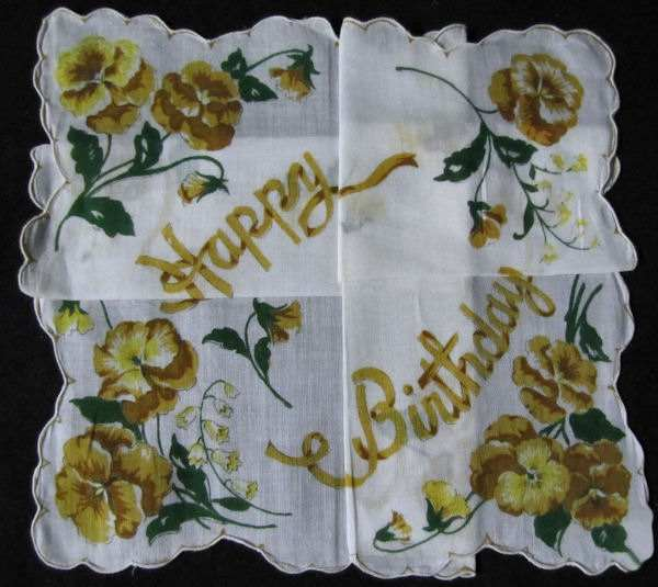 vintage happy birthday hanky