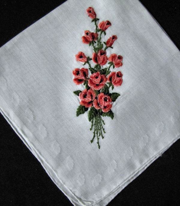 vintage  roses embroidered hanky