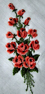 vintage embroidered red roses hanky