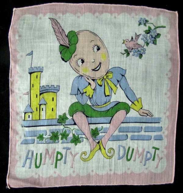 vintage child's Humpty Dumpty hanky