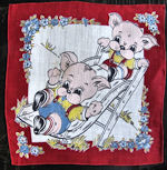 vintage child's children's hanky pigs on slide