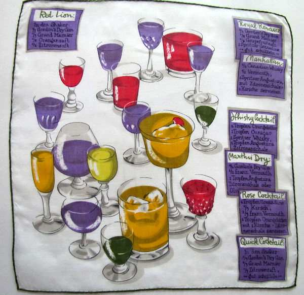 vintage hanky showing cocktail recipes from the Red Lion