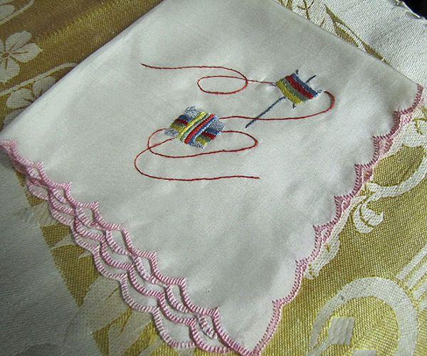 vintage designer novelty sewing lacemaking hanky