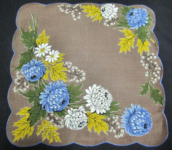 vintage floral print hanky peonies