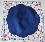 vintage designer novelty patriotic hanky red, white and blue stars