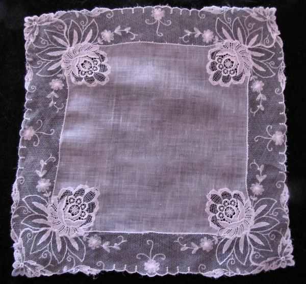 vintage antique wedding brides hanky limerick and schiffli lace