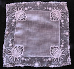 vintage antique wedding brides hanky point de venise flowers