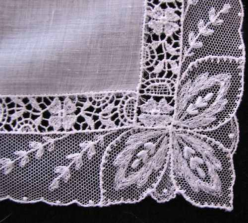 close up vintage antique wedding brides hanky with lace