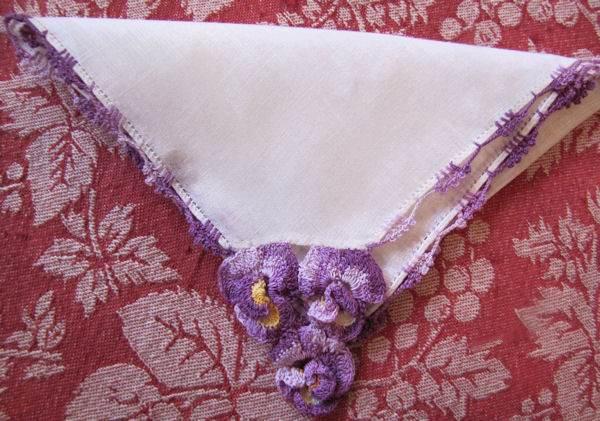 vintage irish linen hanky with handmade lace pansies