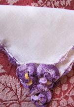 vintage irish linen hanky handmade figural lace pansies
