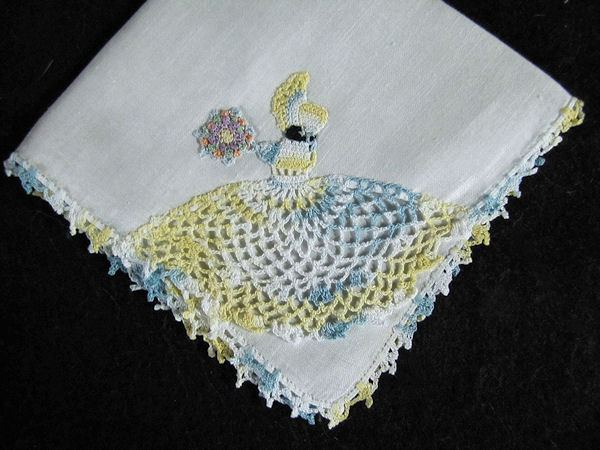 vintage irish linen hanky handmade figural lace little girl