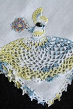 vintage irish linen hanky with handmade figural lace little girl