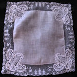vintage antique wedding bride's hanky limerick and schiffli lace