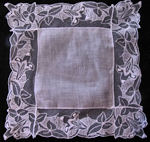 vintage antique wedding bride's hanky Limerick lace