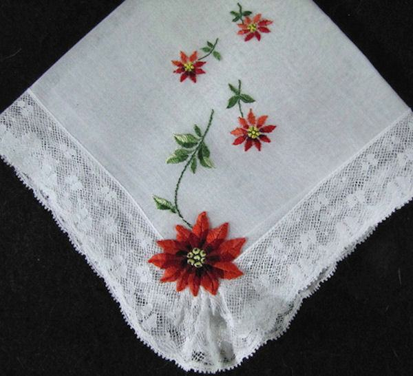 vintage christmas hanky with poinsetta