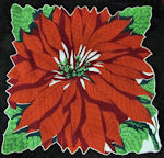 vintage single poinsetta Christmas hanky