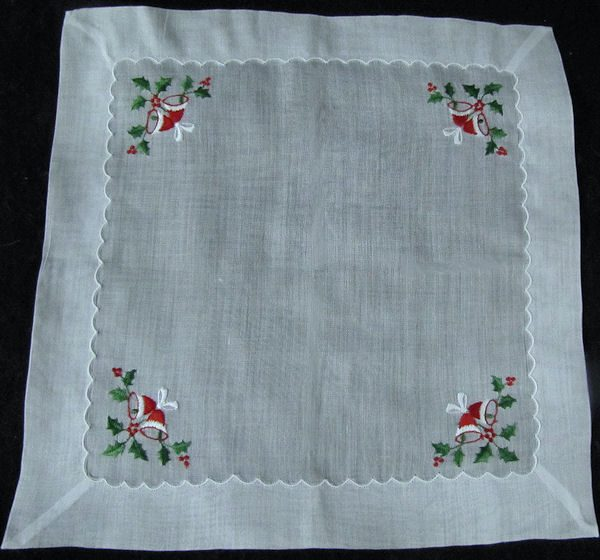 vintage hanky embroidered Christmas bells and holly