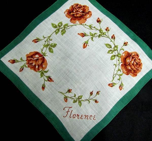 vintage monogrammed Florence hanky