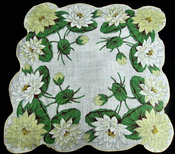 vintage floral print hanky with water lilies