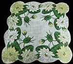 vintage floral print hanky water lilies