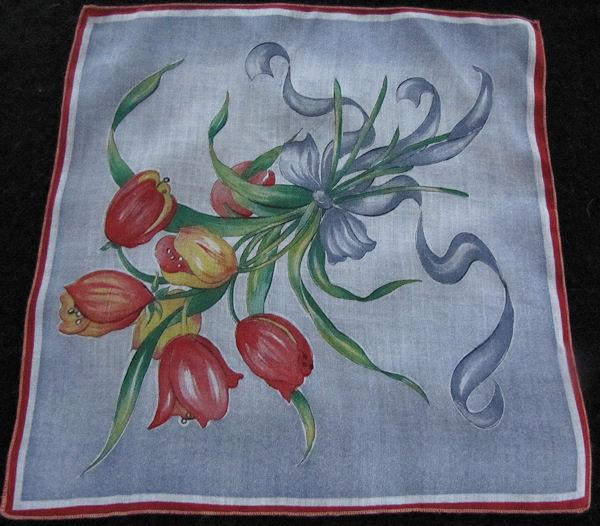 vintage floral print hanky with tulips