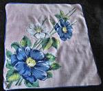vintage floral print hanky big blue flowers
