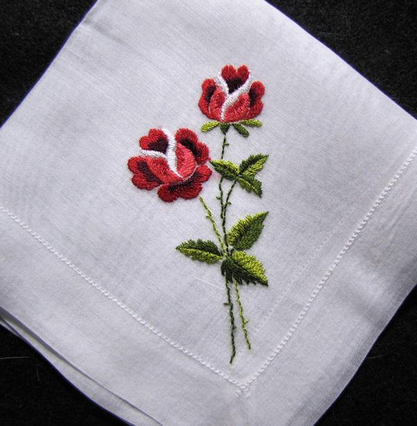 vintage embroidered hanky with roses