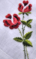 vintage embroidred red rose hanky