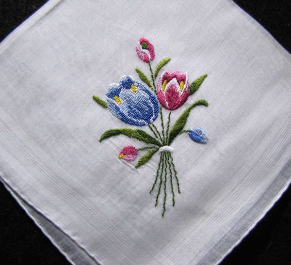 vintage embroidered hanky petit point tulips