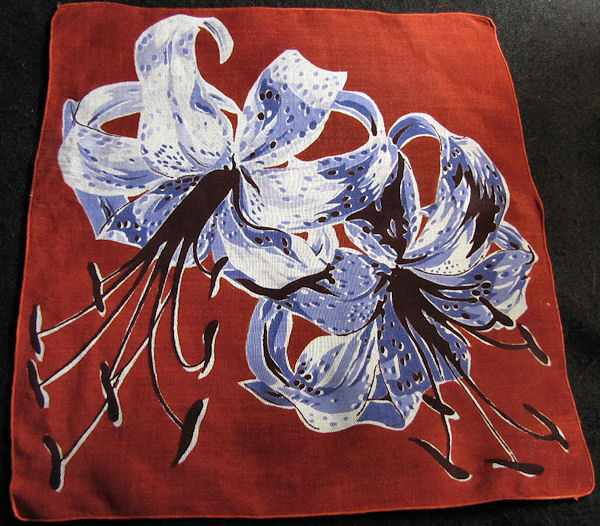 vintage floral print hanky with tiger lily