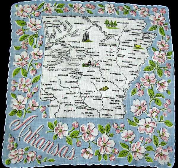 vintage state map hanky Arkansas