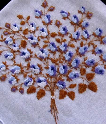 vintage blue rosebuds embroidered hanky