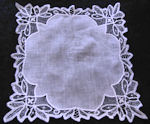 vintage wedding brides hanky handmade Battenberg lace