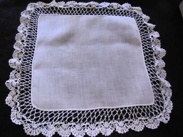 vintage antique wedding bride's hanky Irish linen handmade lace