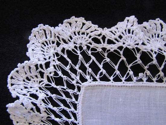 close up corner vintage antique wedding brides hanky handmade lace