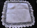 vintage wedding brides hanky Irish linen handmade lace
