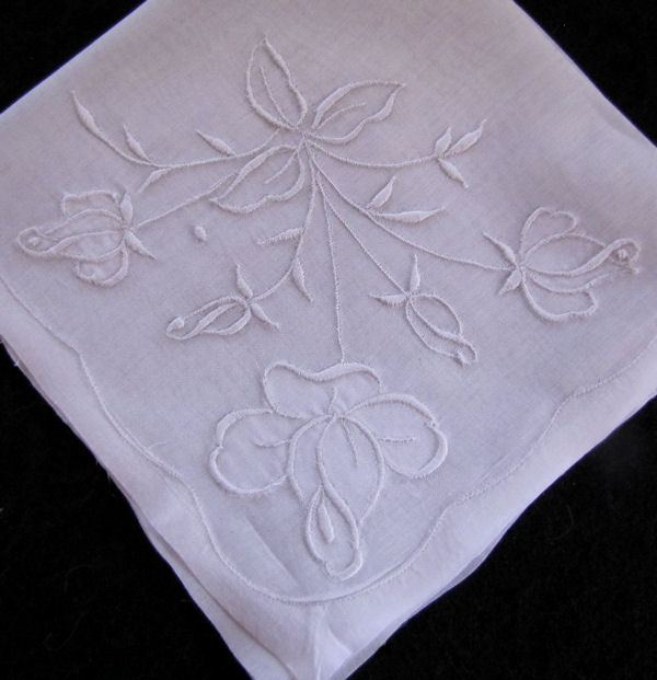 vintage whitework hanky with rose