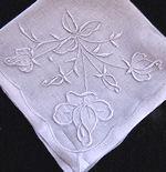 vintage whitework hanky handmade rosebuds
